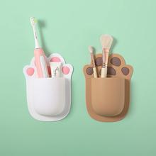 卡通免hu孔浴室牙刷an胶收纳架卫生间冰箱无胶壁挂创意置物架