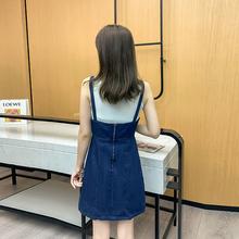 法式(小)hu背带裙V领an瘦短式牛仔裙子2020年新式夏天女