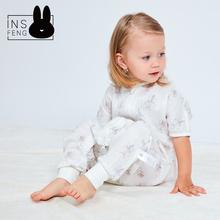 inshueng短袖ze袋宝宝分腿2层纱布睡袋婴宝宝防踢被空调房夏薄