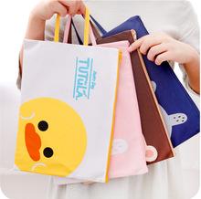 韩国文hu卡通可爱手ze布文件袋A4学生公文拉链帆布资料档案袋