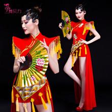 民族风hu蹈伞舞扇子ze现代舞古典舞演出服女旗袍表演打鼓服装