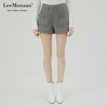 Leehuonsanze19冬季新式毛呢高腰短裤微喇休闲裤女 CW18009