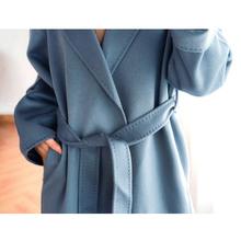 水波纹hu高端反季双ze大衣腰带2020年新式中长式毛呢外套女P22