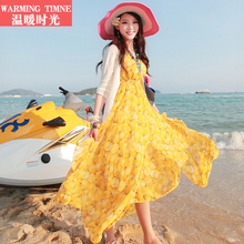 沙滩裙hu020新式de亚长裙夏女海滩雪纺海边度假泰国旅游连衣裙