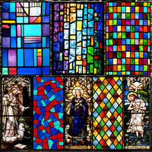 欧式复hu教堂彩色玻ou静电磨砂玻璃贴膜衣柜卫生间窗户花贴纸