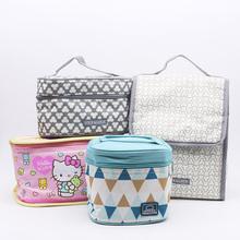 韩国乐hu乐扣保鲜盒ou手提袋子便当包加厚保温包午餐带饭包
