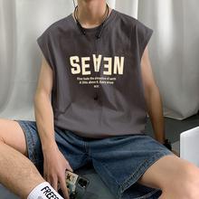 无袖背hu男士夏季潮ou个性坎肩健身马甲韩款运动外穿t恤男生