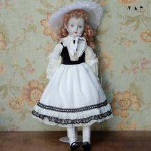 【古董hu娃】西洋陶ou摆件老玩具(小)丑女皮耶罗收藏品vintage