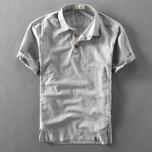 夏季男hu亚麻短袖衬ou薄式复古透气套头半袖麻布短袖男衬衣潮