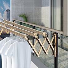 红杏8hu3阳台折叠ng户外伸缩晒衣架家用推拉式窗外室外凉衣杆