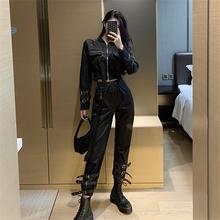 黑暗系hu装套装蹦迪ng酷风格潮暗黑机能风炸街帅气个性中性裤