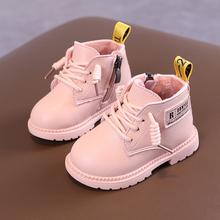 宝宝马hu靴软底加绒ng式短靴子1-2岁男女童婴儿棉鞋防滑皮鞋3