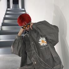 【HEhuLOHIPng】chic格子ins复古刺绣嘻哈oversize国潮衬衫