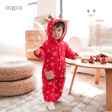 aqphu新生儿棉袄pr冬新品新年(小)鹿连体衣保暖婴儿前开哈衣爬服