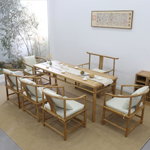 新中式hu桌椅组合禅mo现代老榆木中式泡茶桌黑胡桃木实木茶台