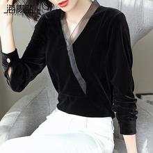 海青蓝hu020秋装mo装时尚潮流气质打底衫百搭设计感金丝绒上衣