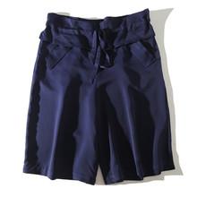 好搭含hu丝松本公司mo0秋法式(小)众宽松显瘦系带腰短裤五分裤女裤