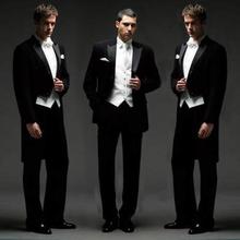 黑色燕hu服男演出美tu唱服男士主持歌手西服套装新郎结婚礼服