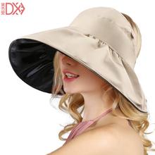 遮阳帽hu夏天韩款黑tu帽折叠沙滩帽防紫外线大沿帽遮脸太阳帽