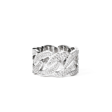 Icehuout Clvn link ring镀白金银色镶满钻古巴链戒指男女 高