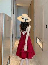 沙滩裙hu超仙拍照三lv衣服(小)个子海边度假红色吊带连衣裙子夏