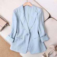 chihu棉麻(小)西装ng2020春夏季韩款亚麻修身显瘦七分袖薄式西服