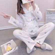 产后hu层纱布睡衣ng纯棉孕产妇长袖长裤哺乳居家套装