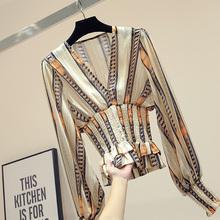条纹长hu雪纺衫女2ua春装新式修身显瘦V领设计感(小)众轻熟上衣潮