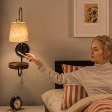旭呈北hu壁灯卧室床ua读灯欧式新中式个性带拉线开关明线墙灯