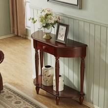 美式玄hu柜轻奢风客ch桌子半圆端景台隔断装饰美式靠墙置物架