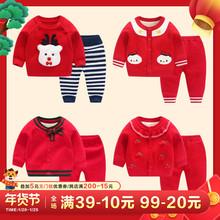 宝宝婴儿冬装女童毛衣套装