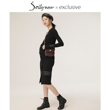 SELhuYNEARrd装春秋时尚修身中长式V领针织连衣哺乳裙子