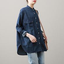 复古纯hu直筒长袖女rd松中长式衬衣百搭显瘦薄外套