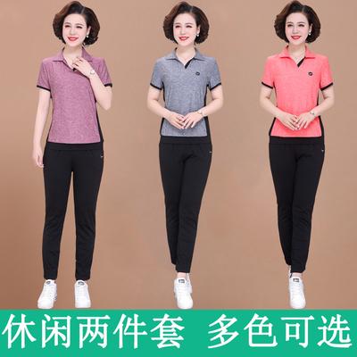 妈妈夏hu两件套洋气un装中老年女装短袖长裤中年女的休闲服装