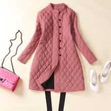 冬装加hu保暖衬衫女bn长式新式纯棉显瘦女开衫棉外套