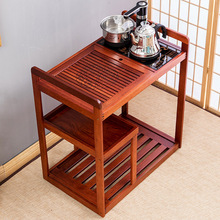 茶车移hu石茶台茶具uo木茶盘自动电磁炉家用茶水柜实木(小)茶桌