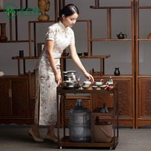 移动家hu(小)茶台新中uo泡茶桌功夫一体式套装竹茶车多功能茶几