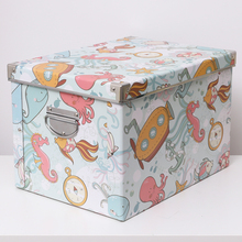 HW收hu盒纸质储物an层架装饰玩具整理箱书本课本收纳箱衣服