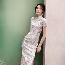 法式旗hu2020年an长式气质中国风连衣裙改良款优雅年轻式少女
