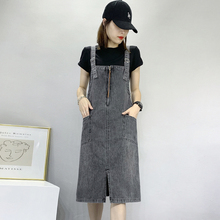 2021夏季新款中长hu7牛仔背带ui连衣裙子减龄背心裙宽松显瘦