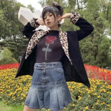 休闲饮hwchillbgink复古90s日系辣妹高腰牛仔短裙百褶裙百搭