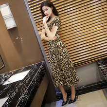 女士豹hw长式连衣裙kk款紧身圆领短袖气质显瘦大摆裙打底长裙
