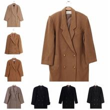 vinhwage古着qn古日本女式羊绒羊羔毛羊毛呢大衣 西装领双排扣