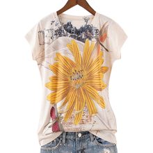 欧货2hw21夏季新qn民族风彩绘印花黄色菊花 修身圆领女短袖T恤潮