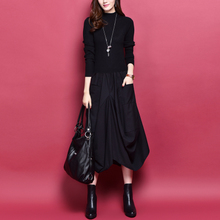 201hx秋冬新式女ax气质a字款长袖羊毛裙中长式修身显瘦连衣裙