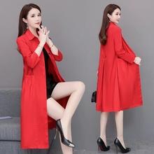 红色外hx女韩款宽松ax020年新式流行中长式POLO领薄式过膝风衣