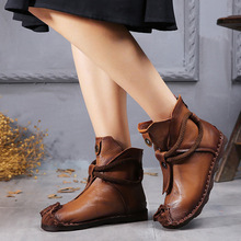 202hx秋冬保暖防nw短靴欧美低筒鱼嘴低跟真皮女鞋短靴女罗马靴