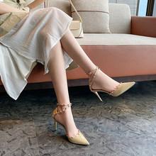 一代佳hx高跟凉鞋女wc1新式春季包头细跟鞋单鞋尖头春式百搭正品