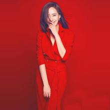 欧洲站hx021春秋hq秀新式高端女装优雅时尚气质红色长连体裤潮