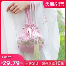 汉服包hy斜挎手提(小)et饰女配古装的荷包袋原创帆布中国风古风